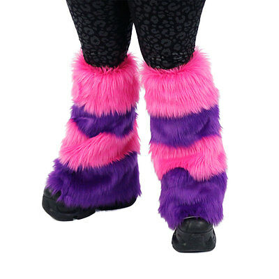 PAWSTAR Cheshire Cat Leg Warmers - Fluffies Pink Purple Boot Cover [CLA]2900