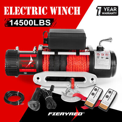 14500LBS Electric Winch Synthetic Rope Wireless Remote 12000lb 12V ATV 4WD Truck