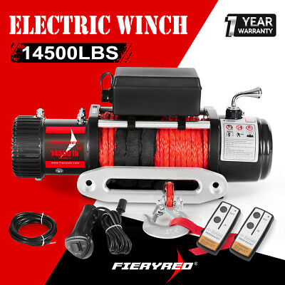 Outranger 14500LBS Electric Winch 26M Synthetic Rope 12V Wireless Remote 4WD 4X4