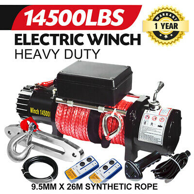 12V 14500LBS Electric Winch 26M Synthetic Rope Wireless Remote 4WD 6577KG