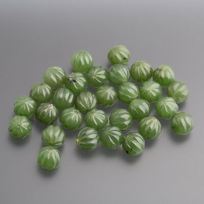 Jade green Cabochon Ball fluted drilled 8 mm emerald green / BOX