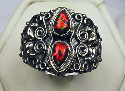 Amazing Fire Opal Two Stone Ring Antique Setting Sterling Silver