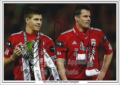 Jamie Carragher And Steven Gerrard Signed Photo Liverpool FC Pre-Print Size A4