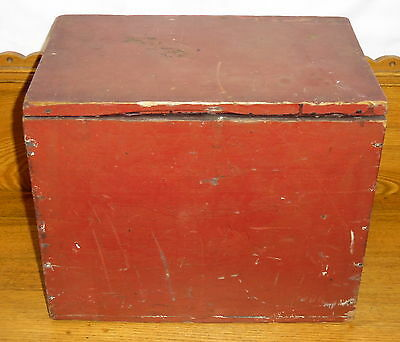 """Antique Red Painted Small Wood Box / Chest - 14 3/4"""" x 12"""" x 9 3/4"""""""