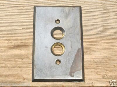 Push Button single Switch Plate solid brass rustic tarnished vintage .040 gauge