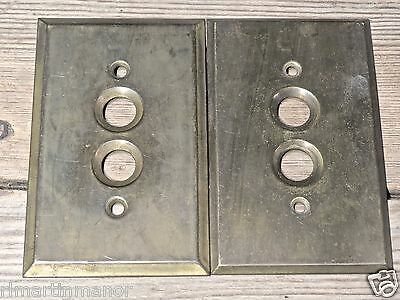 2 old single Push ButtonSwitch cover Plates vintage solid brass dark tarnished