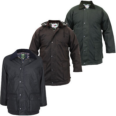Mens Coat Wax Jacket Country Farmer Hooded Padded Cord Collar Warm Check Lined
