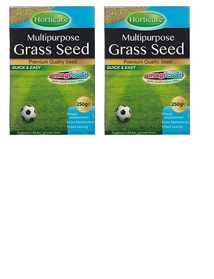 2 x Horticare Multipurpose Grass Seed 250g Thicker Greener Lawn 10M2 Coverage
