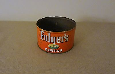 Old Antique Folger's Metal Can Dated 1952 - Has Ships Logo