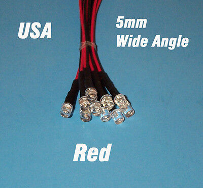 10 PCS LED - 5mm PRE WIRED 12 VOLT WIDE VIEW ANGLE RED PREWIRED 12V FLAT