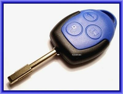 New Uncut Genuine Ford Transit Mk7, 2006 - 2014 3 Button Blue Remote Key Fob