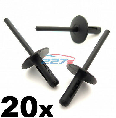 20x BMW Plastic Pop Blind Rivets 6mm, Wheel Arches, Side Skirts, Sills & Bumpers