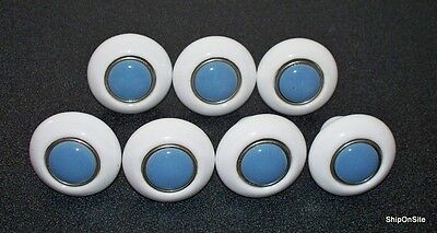 "7 Vintage White & Blue Round Porcelain Drawer Pulls / Knobs  1 1/2"" Diameter"