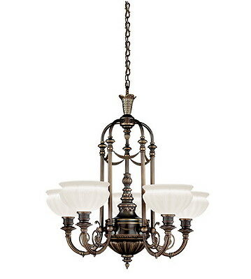 Kichler Oiled Bronze And Hand Blown Opal Etched Glass Chandelier