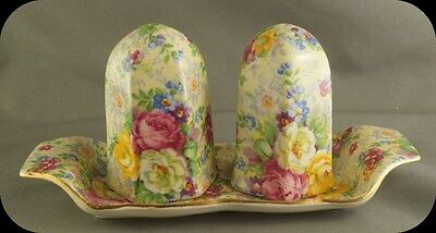 Lord Nelson Chintz Rose Time Salt and Pepper Shakers on Tray