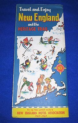 Vintage 1962-63 New England & the Heritage Trail Map & Brochure-By Hotel Assoc
