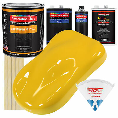 INDY YELLOW Gallon URETHANE BASECOAT CLEARCOAT Car Auto Paint FAST Kit