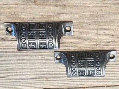 2 old Bin Drawer Pulls cup handles restored vintage 1890 Pat basket weave 3 1/8""