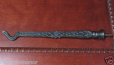 Plant Hook Bird Cage restored old vintage fancy decorated rustic cast iron 9 ½""