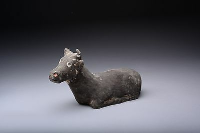 Ancient Chinese Han Dynasty Pottery Bull - 206 BC