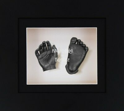 BabyRice 3D Baby Casting Kit Christening Set Black Box Display Frame Pewter Cast