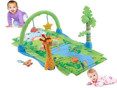 Baby Tropical Rain Forest Multi Play Activity Gym Soft Playmat Basket W Toys