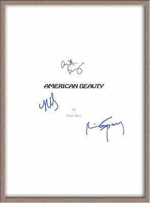 "Kevin Spacey Annette Bening Mena Suvari Signed X3 ""american Beauty"" Script Rpt"