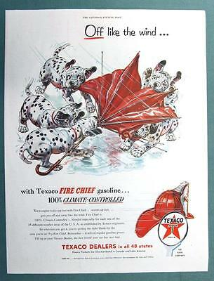 10 X 13 Original 1954 Texaco Ad  PUPS OFF LIKE THE WIND JUST LIKE FIRE CHIEF