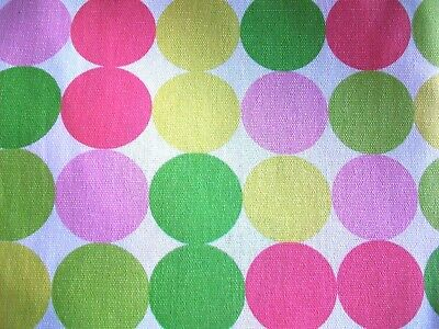 Pink, Green & Yellow Dots On White Cotton Home Decor Fabric