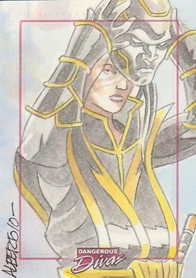 Marvel Dangerous Divas -  Color Sketch Card by Alberto Silva - # 2
