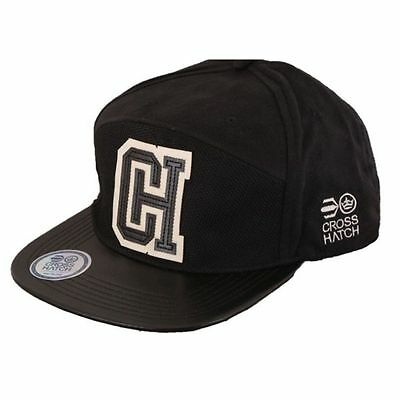 Mens Designer Crosshatch Retro Peak Snap Back Baseball Cap Hat - Black