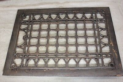 "Heat Air Grate register only vintage old rustic 13 1/2 x 9 3/4"" squares arches"