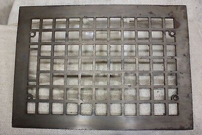 "Heat Air Grate register only vintage old 13 5/8 x 9 5/8"" square waffle cast iron"