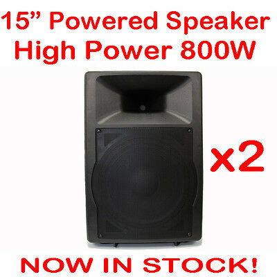 2x MaxAV 15 Inch Powered Audio Speaker PA Cabinet Box Active Stage Monitor 15""