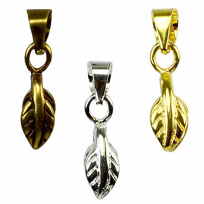 LEAF PINCH BAIL /Ice Pick Necklace Jewellery Findings Pendant Clasp Bulk Buy DIY