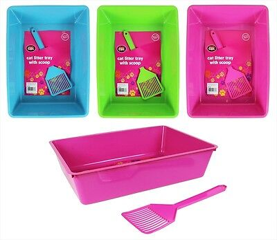 Cat Litter Tray With Scoop Toilet Box Kitten Pet Clean Tidy Home World of Pets