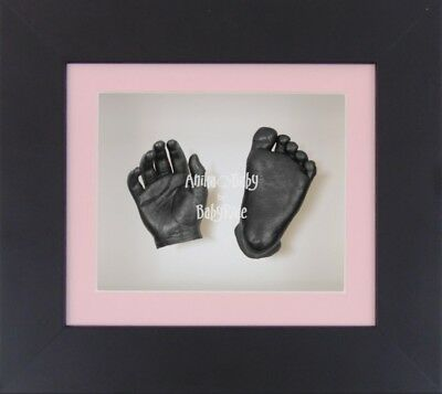 BabyRice 3D Baby Girl Casting Kit Black Box Display Frame Pewter Foot Hand Casts