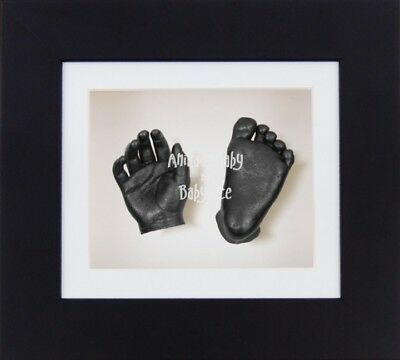BabyRice 3D Unisex Baby Casting Kit Black Box Display Frame Pewter Foot Hand Cas