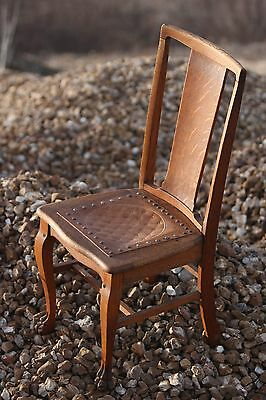 Antique Solid Wood Chair Quarter Sawn Oak w/ Leather Seat Drake Feet