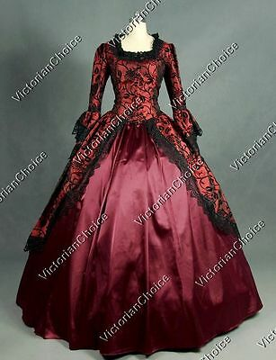 Renaissance Victorian Gothic Masquerade Brocade Ball Gown Theater Clothing N 143