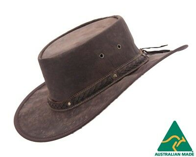 Barmah Kangaroo Leather Australian Outback Hat Made in Australia. Brown color