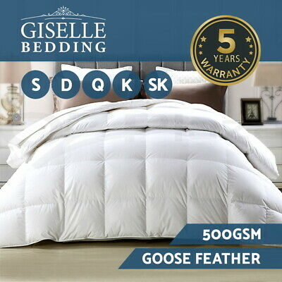 500GSM GOOSE DOWN Feather Quilt Blanket Duvet WINTER Duck Weight Doona ALL SIZE