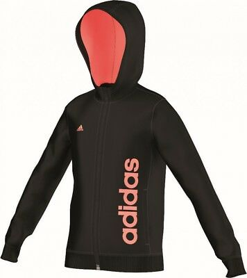 adidas Mädchen Trainings Jacke Essentials Linear Full Zip Hoodie schwarz orange