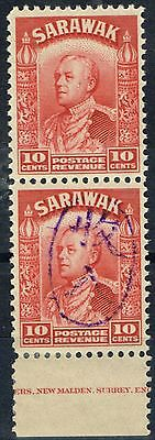 Sarawak 1942 Jap Occu 10c Scarl Revenue V.F MNH Vert Pair One Opt Omitted Scarce