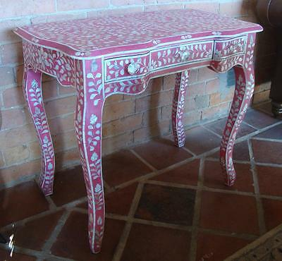Dressing Table / Desk / Console in Pink inlaid with Hand Carved Mother of Pearl