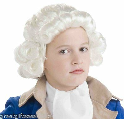 CHILD COLONIAL COSTUME White WIG Kids Boys Historical George Washington Judge