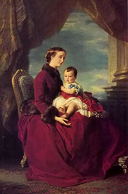 Oil the empress eugenie holding louis napoleon, the prince imperial on her knees