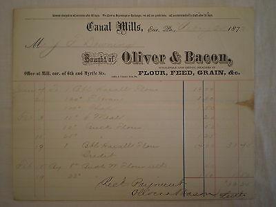 Antique 1873 Erie Pa Canal Mills Oliver & Bacon Flour Feed Grain Bill/ Receipt