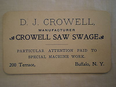 Antique 1901 Pan-Am Expostion Buffalo Ny Business Card D J Crowell Saw Swage