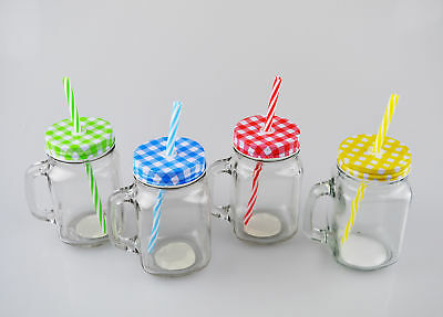 Glass Jar Drink Tumbler Cocktails Beer with Lid and Straw 4 Colours Outdoor